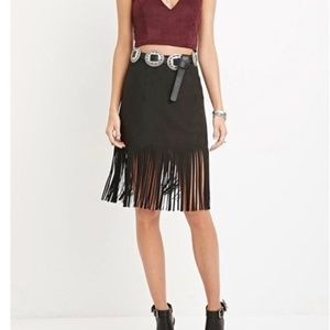 FOREVER 21 Black Faux Suede Fringe Skirt Small